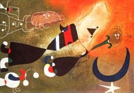"""Werk von Joan Miró """"Frauen und Vogel im Mondschein"""""""